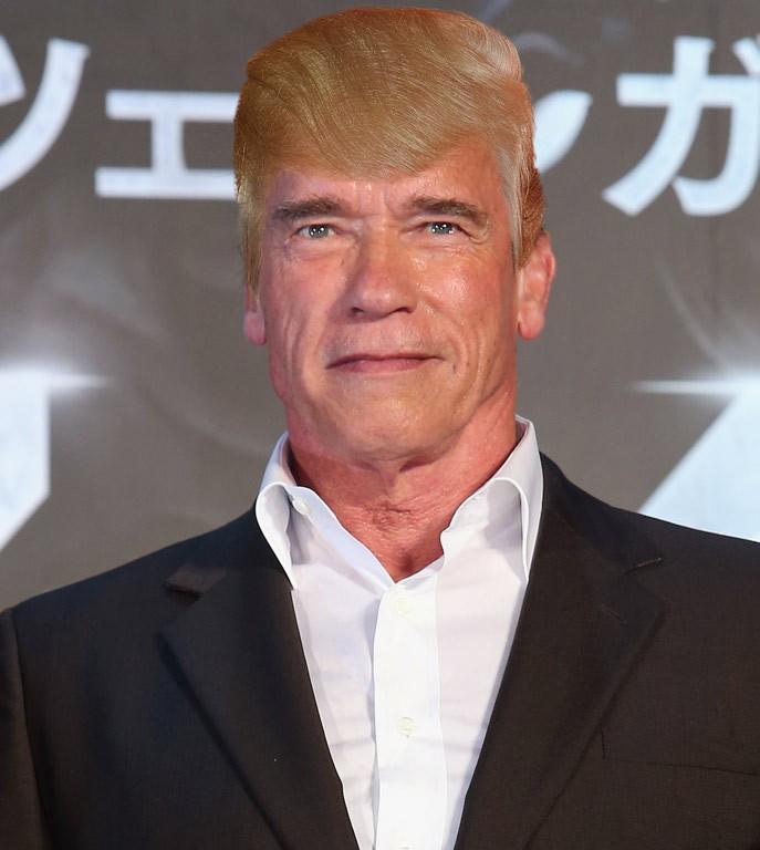 Arnold Schwazenegger com cabelo do Trump (Foto: Reprodução/TMZ)