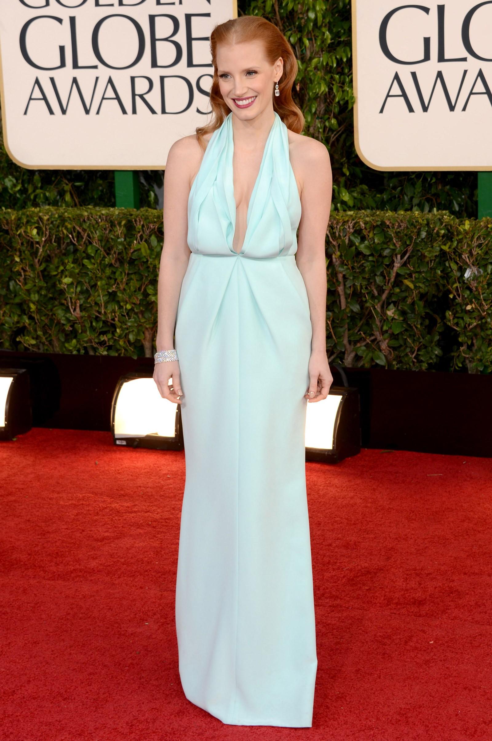 2012 - melhor atriz de drama para Jessica Chastain, que vestiu Calvin Klein (Foto: Getty Images)