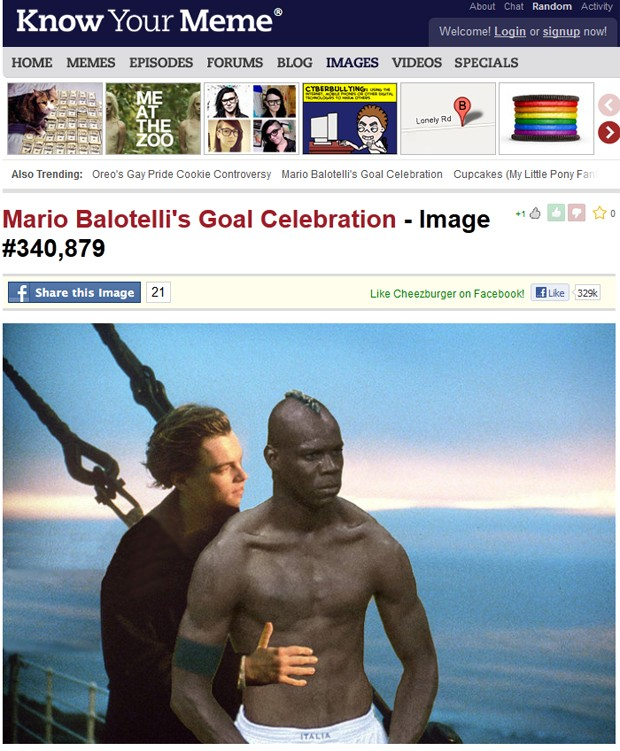 """Balotelli é colocado num abraço de Leonardo di Caprio em cena clássica do filme """"Titanic"""" (Foto: Reprodução)"""