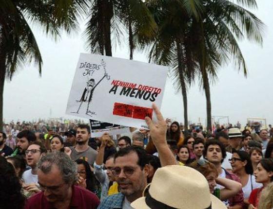 """Ex-presidente da Previ Sérgio Rosa em manifestação, no Rio de Janeiro, pelas """"Diretas Já"""" (Foto: ÉPOCA)"""