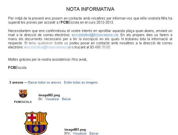 E-mail do Barcelona recebido por Artur Miani (Foto: Arquivo Pessoal)