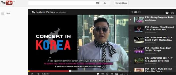 O cantor sul-coreano Psy em vídeo promocional no YouTube (Foto: Reprodução)