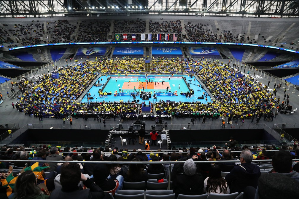 Casa do Atlético-PR, Arena da Baixada recebe as finais da Liga Mundial; público foi de 10 mil pessoas nesta terça (Foto: FIVB)