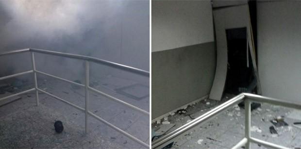 Com a força da explosão, restou pouca coisa dentro da agência bancária (Foto: Netto Silva)