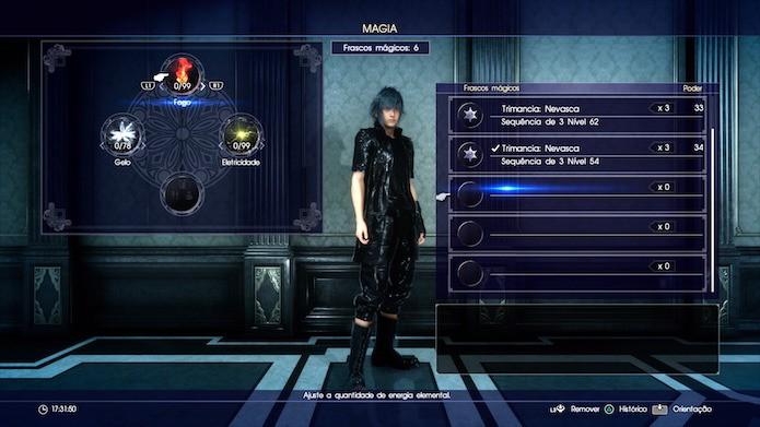 Final Fantasy XV: escolha o espaço vazio e manipule a intensidade da magia com os gatilhos (Foto: Reprodução/Victor Teixeira)