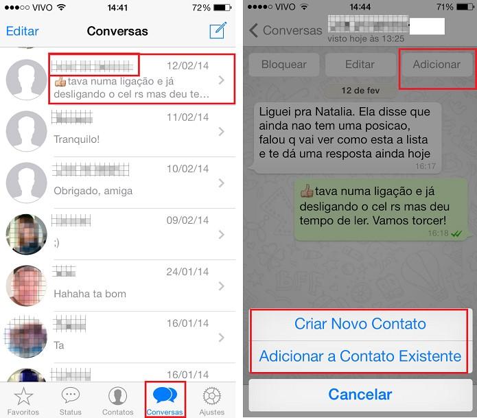 Como adicionar um número sem nome no WhatsApp  (Foto:  Aline Jesus/Reprodução)