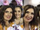 Fátima Bernardes posa com as filhas no Desfile das Campeãs