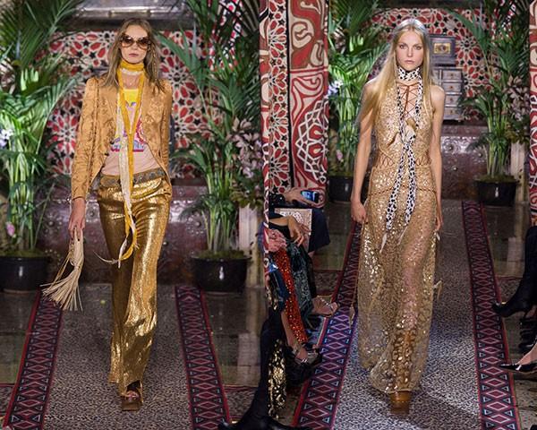 O dourado foi um destaque na passarela da Roberto Cavalli (Foto: Imaxtree)