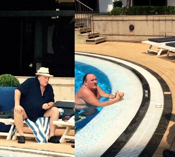 Gérard tem tomado banho de piscina quase todos os dias e tem marcado reuniões na área externa do hotel (Foto: Reprodução)