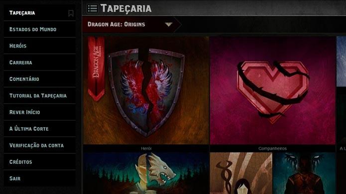 Use o menu para navegar nas opções do Dragon Age: Keep (Foto: Reprodução/Tais Carvalho)
