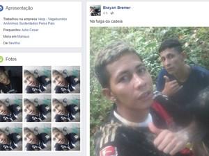 Detento publicou foto durante fuga da unidade (Foto: Reprodução/Facebook)