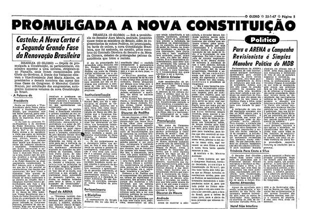 Constituição de 67 (Foto: Arquivo O Globo)