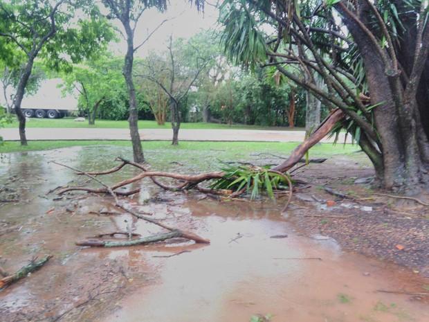 Parque Esportivo Eduardo Gomes, localizado em Canoas, registrou estragos na área externa  (Foto: Willian Santos/Arquivo pessoal)