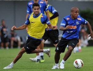 Alan Kardec e Borges, em treino do Santos (Foto: Divulgação/Santos FC)