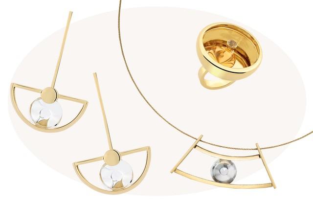 Joias da coleção Spinning Top, com pedras que se movem pelas peças. Brincos (R$ 14.800), Colar (R$ 17 mil) e anel (R$ 21 mil) (Foto: Divulgação)