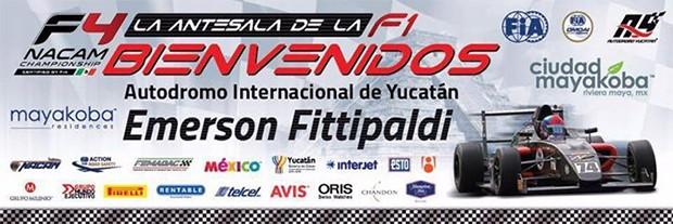 Cartaz do evento de inauguração do nome de Emerson Fittipladi (Foto: Divulgação/Autódromo Internacional de Yucàtan)