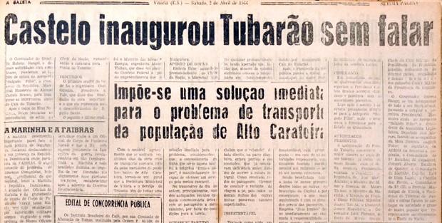 Castelo inaugurou porto sem falar - recorte do jornal A Gazeta de 1966 (Foto: Reprodução/ A Gazeta)