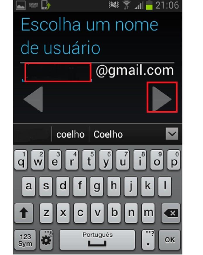 Escolha um nome de usuário (Reprodução/Taysa Coelho)