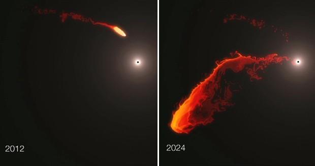 Astrônomos fizeram uma animação de como seria o fenômeno em que buraco negro engole nuvem de gás (Foto: ESO/MPE/M.Schartmann)