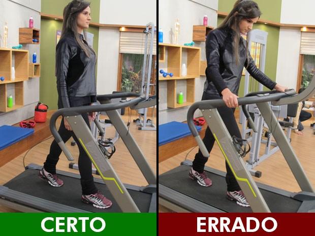 Ao andar na esteira, a coluna deve estar reta; a educadora física Luciana Brait mostra  (Foto: Mariana Palma/G1)
