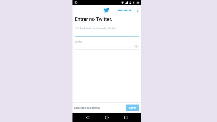 Login no Twitter precisa de nome de usuário e senha (Foto: Reprodução/Twitter)