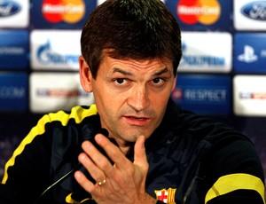 Tito Vilanova na coletiva do Barcelona (Foto: AP)