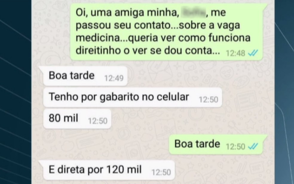 Conversa registra contato de fraudador com candidata (Foto: Reprodução/TV Anhanguera)
