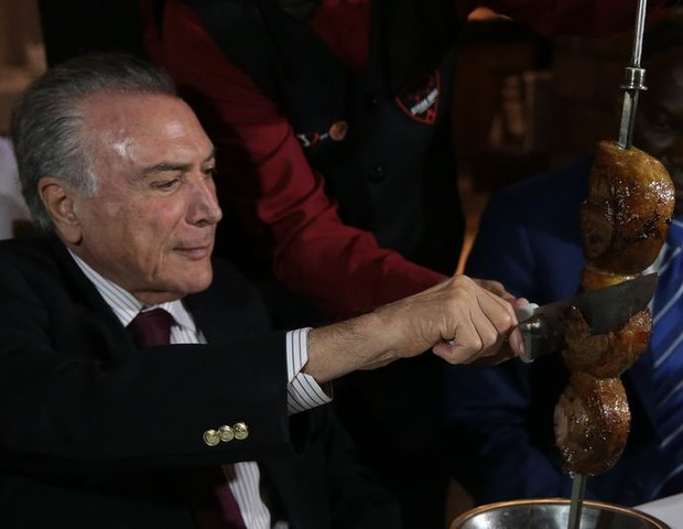 Michel Temer na churrascaria (Foto: Agência Brasil/Divulgação)