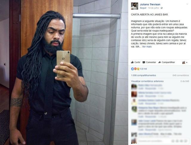 """Advogado relata ter sido barrado em entrada de bar por estar """"parecendo um segurança"""" (Foto: Reprodução/ Facebook)"""