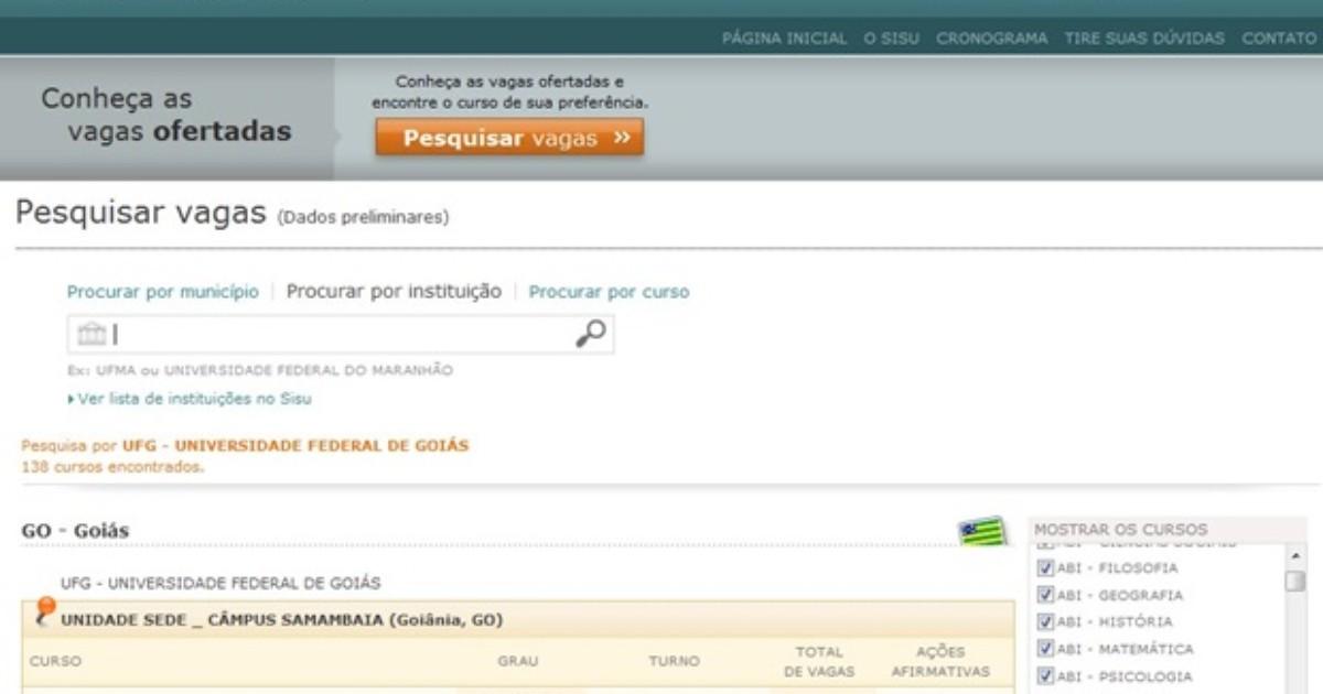 Vagas do Sisu estão distribuídas em 52 municípios e 10 instituições ... - Globo.com