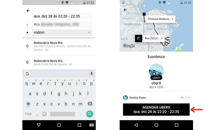 Confirmação de agendamento de corrida no Uber (Foto: Reprodução/Raquel Freire)