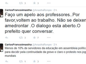 Em rede social, prefeito pediu para professores voltarem ao trabalho (Foto: Reprodução/Twitter)