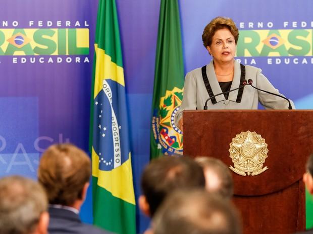Presidente Dilma Rousseff durante cerimônia de Sanção do Código de Processo Civil. (Brasília - DF, 16/03/2015) (Foto: Roberto Stuckert Filho/PR)