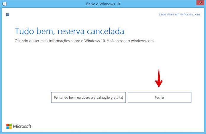 Atualização para o Windows 10 cancelada com sucesso (Foto: Reprodução/Helito Bijora)