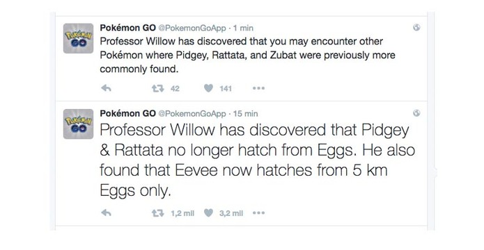 Pokémon Go anunciou as mudanças como descobertas do Professor Willow (Foto: Reprodução/Twitter)