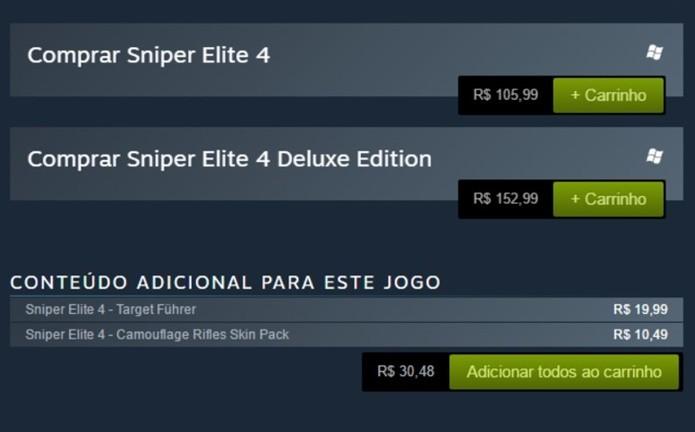 Conteúdos extras de Sniper Elite 4 também podem ser comprados separadamente (Foto: Reprodução/Felipe Demartini)