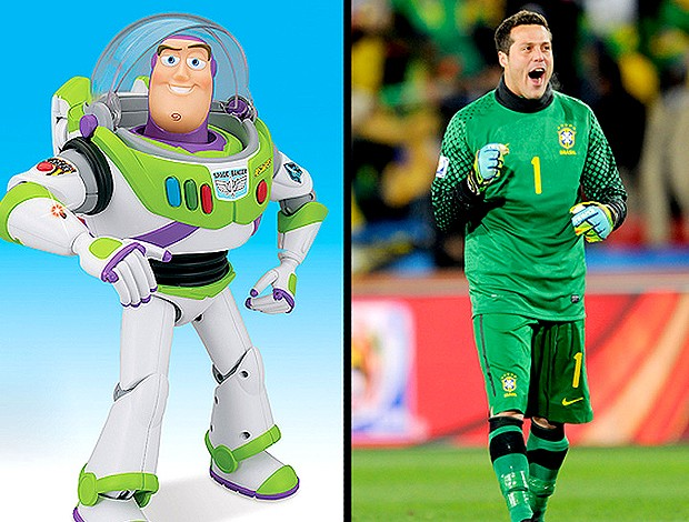 Júlio César goleiro Brasil e Buzz Light Year (Foto: Getty Images )