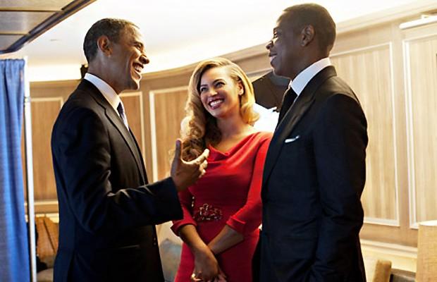 Barack Obama com Beyoncé e Jay-Z (Foto: Reprodução)