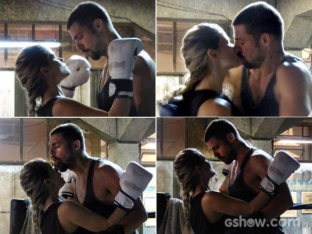 Casal protagoniza cenas picantes na telinha (Foto: O Caçador/TV Globo)