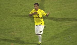 Atacante Guilherme comemora gol do Cene (Foto: Reprodução/TV Morena)