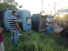 Motorista perde controle e caminhão tomba na Via Expressa, em Maceió