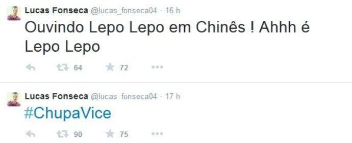 Lucas Fonseca provoca o Vitória (Foto: Reprodução / Twitter)