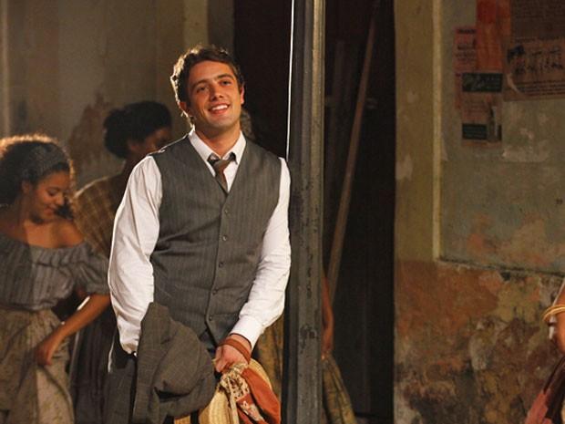 Albertinho na primeira fase, se apaixonou por uma Isabel ainda pobre (Foto: Lado a Lado/TV Globo)