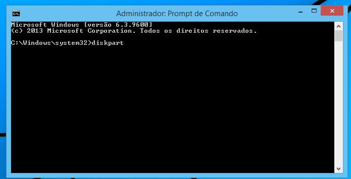 Executando o aplicativo diskpart no Prompt de Comando (Foto: Reprodução/Edivaldo Brito)
