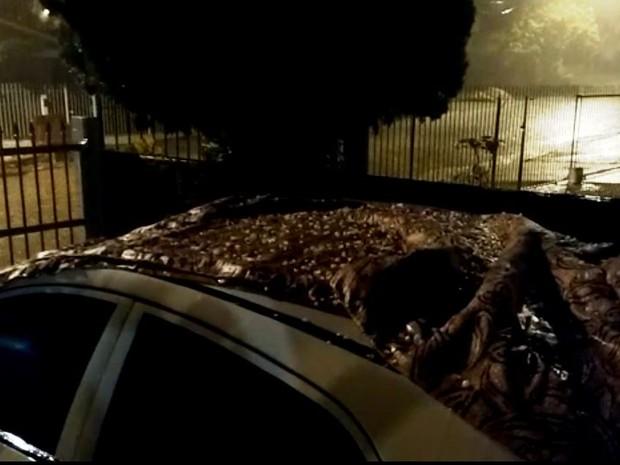 Granizo caiu em Cocal do Sul na noite de quinta-feira (17) (Foto: Denise de Medeiros/RBS TV)