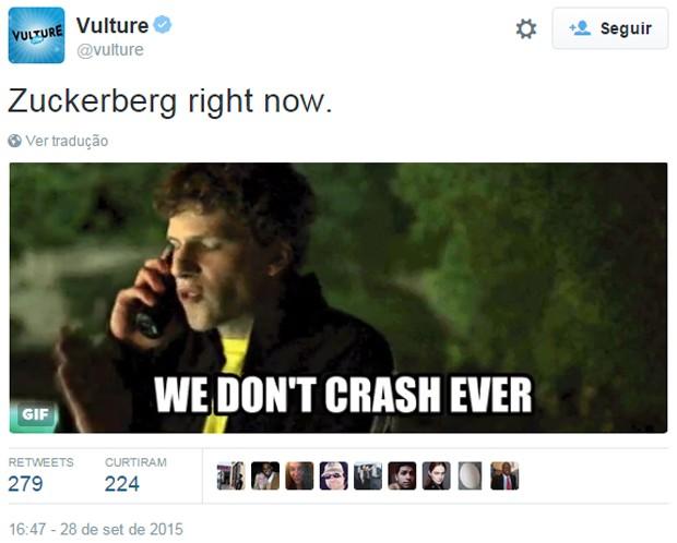 GIF usa cena de 'Rede social', filme que conta a história do Facebook, para brincar com reação de Mark Zuckerberg ao problema (Foto: Reprodução/Twitter/Vulture)