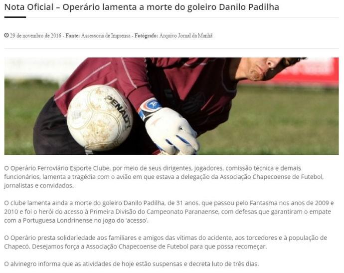 Nota Operário-PR (Foto: Divulgação)