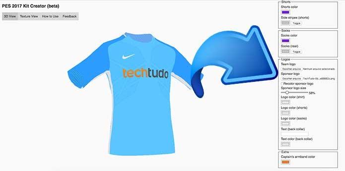 Adicione um patrocinador à sua camisa do PES 2017 (Foto  Reprodução Murilo  Molina 26125d8a19fcb