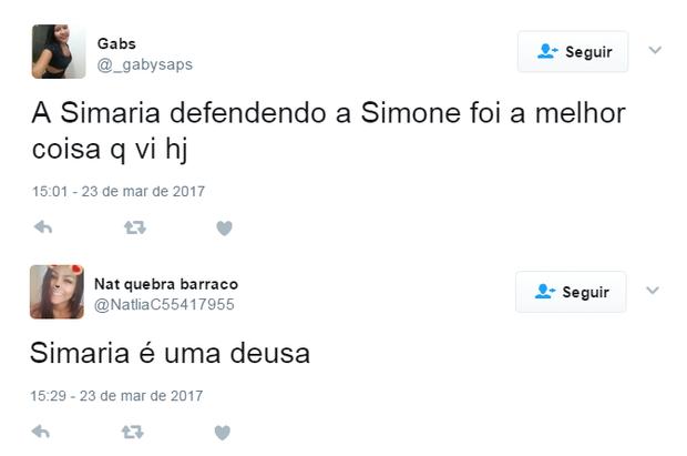 Internautas comentam vídeo de Simaria em defesa de Simone (Foto: Reprodução/Twitter)