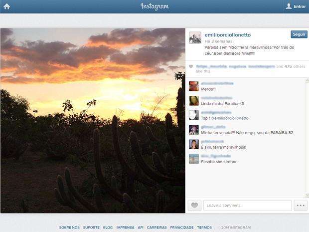 Emílio Orciollo Netto postou foto de paisagem em Cabaceiras (Foto: Reprodução/Instagram/@emilioorciollonetto)